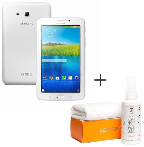 Foto 1 - Tablet Samsung Galaxy Tab E Branco com 7, Wi-Fi, Android 4.4 e 8 GB + Limpador para Telas para LCD - Geonav - SS01